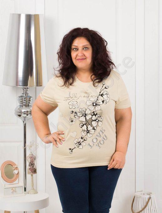 Приятна макси блузка с щампа на цветя-бежово-код 4063-13