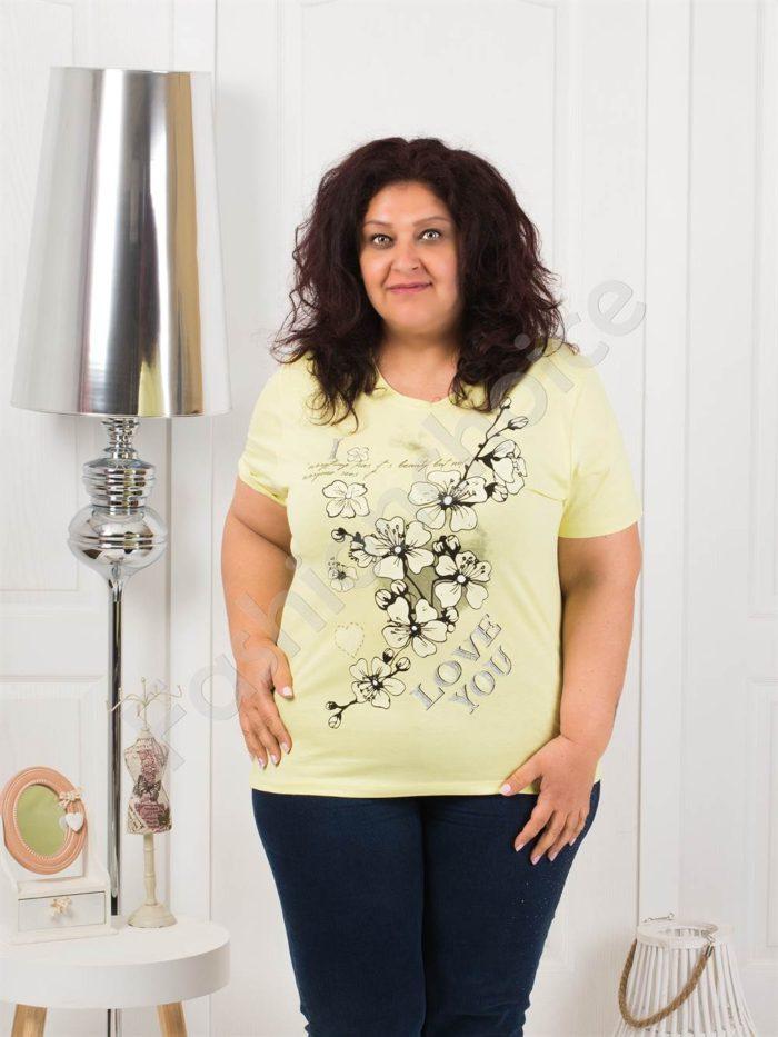 Приятна макси блузка с щампа на цветя-бледожълто-код 4063-10