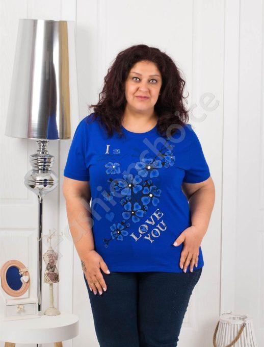 Приятна макси блузка с щампа на цветя-кралско синьо-код 4063-8