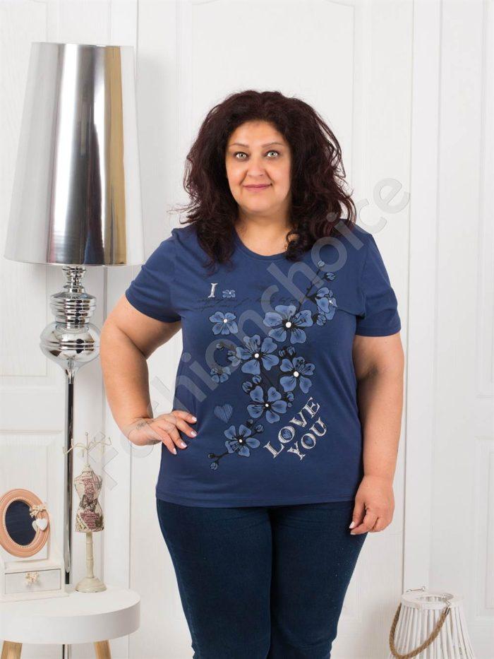 Приятна макси блузка с щампа на цветя-тъмносиньо-код 4063-11