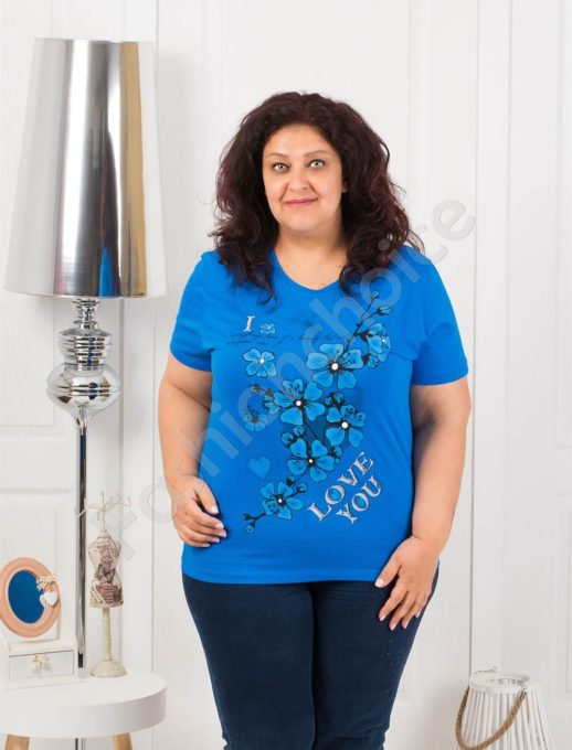 Приятна макси блузка с щампа на цветя-парламент-код 4063-12