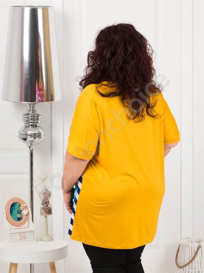 Дамска макси туника в свеж цветен десен-горчица-код 1185-2