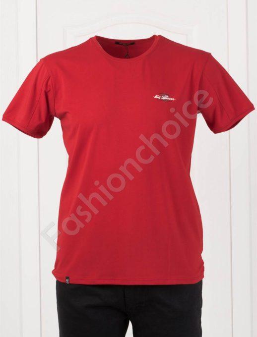 Изчистена мъжка макси тениска в червено-код 073-6