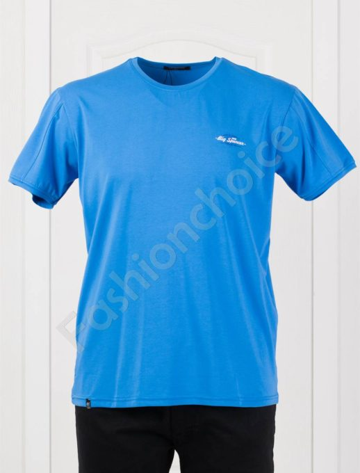 Изчистена мъжка макси тениска в цвят парламент-код 073-7