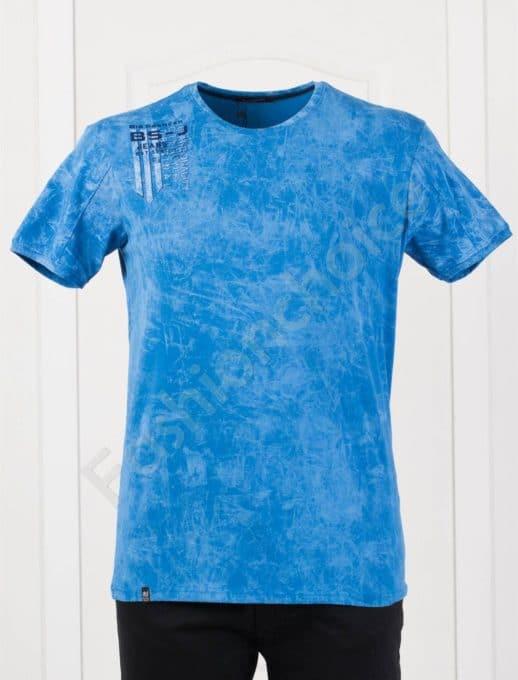 Мъжка макси тениска с щампа в цвят парламент-код 148-1