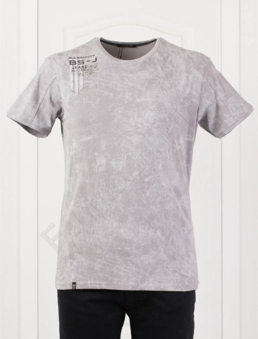 Мъжка макси тениска с щампа в сиво-код 148-4