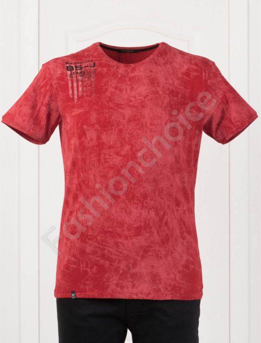 Мъжка макси тениска с щампа в червено-код 148