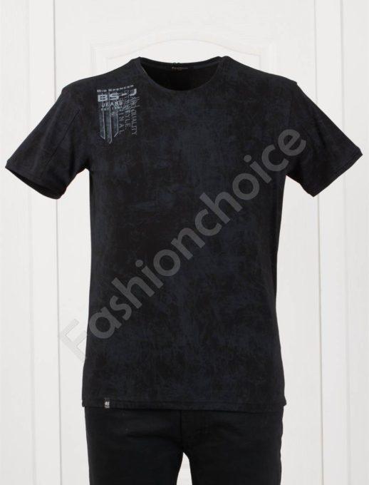 Мъжка макси тениска с щампа в черно-код 148-3