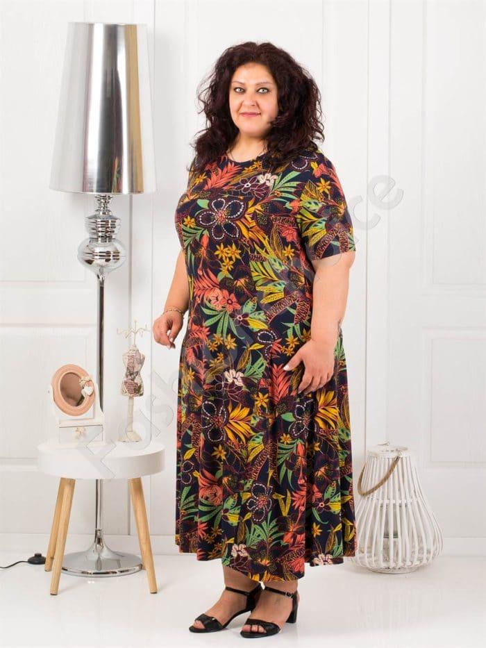 Красива дълга макси рокля в черен десен на цветя-код 088-6