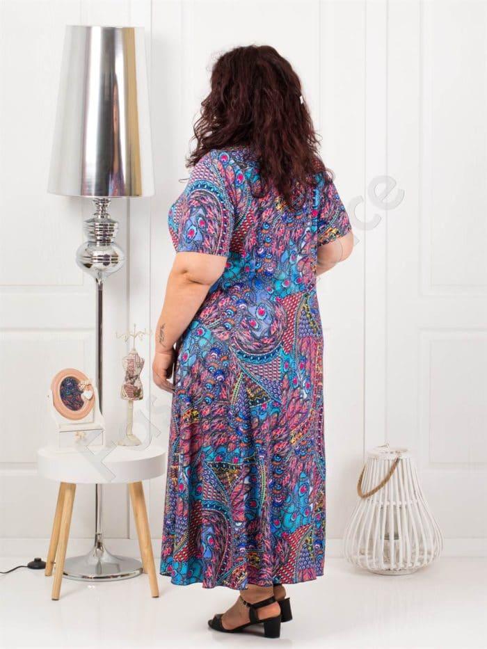 Слънчева дълга макси рокля в свеж десен-синьо-код 1110-6
