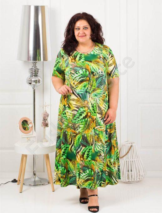 Дълга макси рокля в свеж летен десен-зелено-код 1110-8