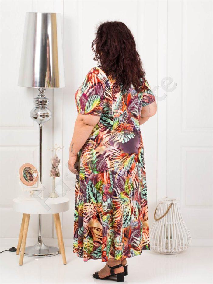 Дълга макси рокля в свеж летен десен-лила-код 1110-9