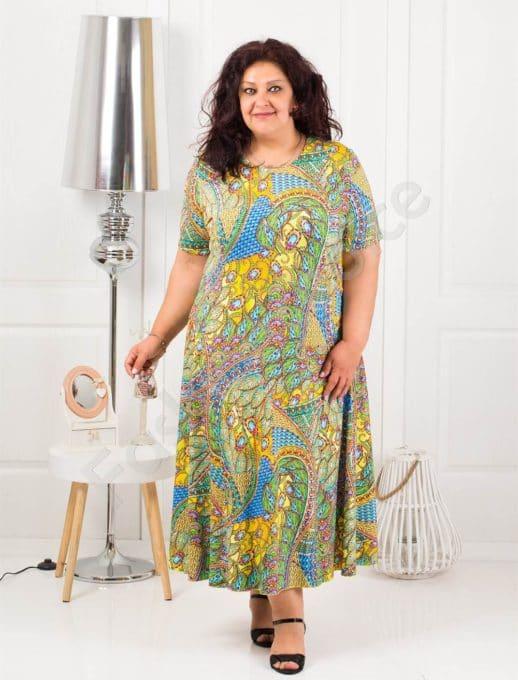 Слънчева дълга макси рокля в свеж десен-жълто-код 1110-7
