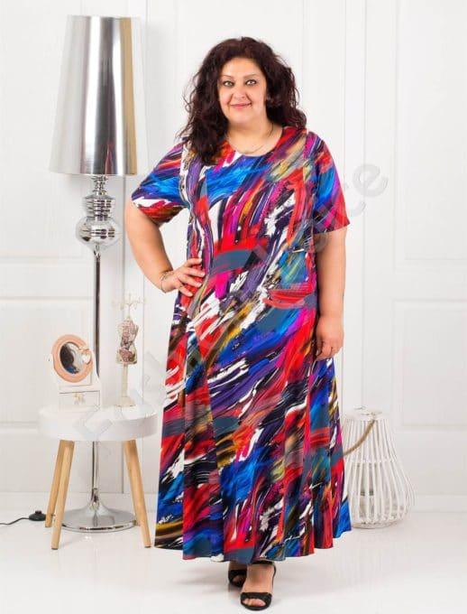 Дълга макси рокля в красив пъстър десен-код 1110-11