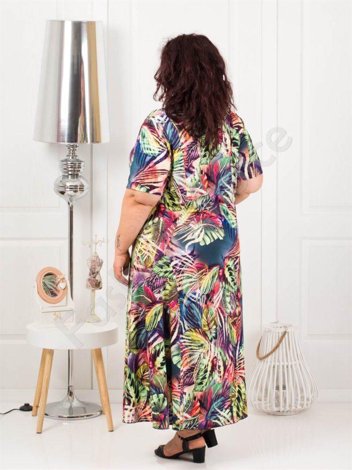 Дълга макси рокля в свеж летен десен-синьо-код 1110-10