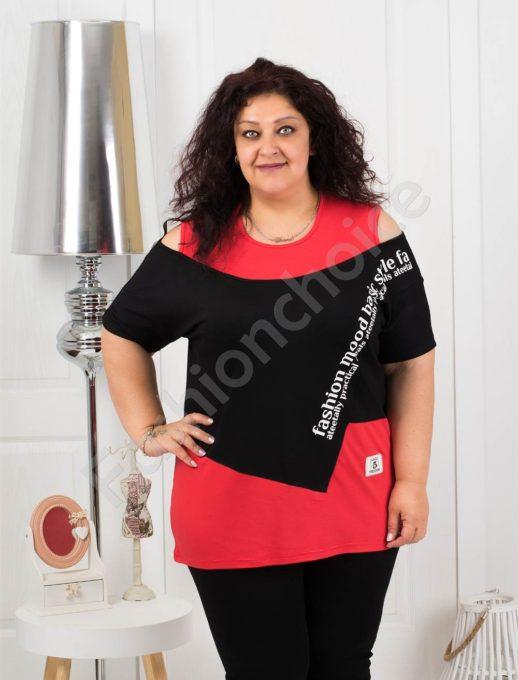 Ефектна макси блузка в черно и червено-код 1191