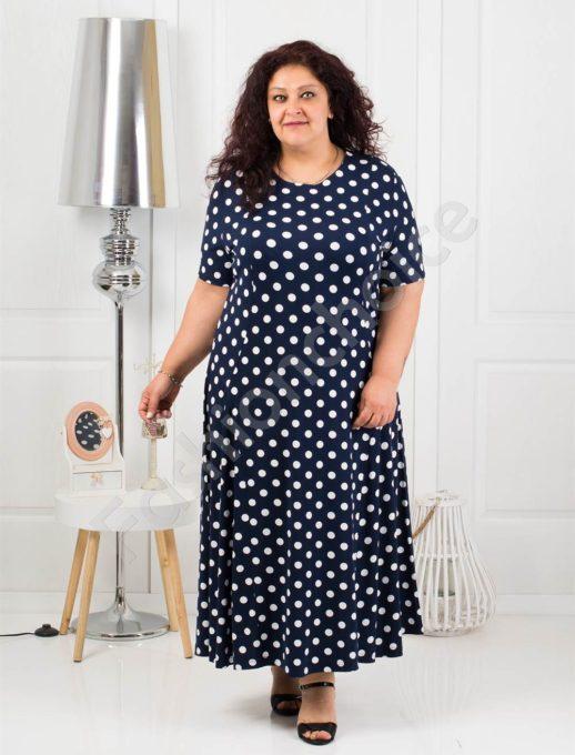 Красива дълга макси рокля в тъмно синьо на бели точки-код 088-8