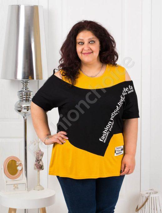 Ефектна макси блузка в черно с горчица-код 1191-2