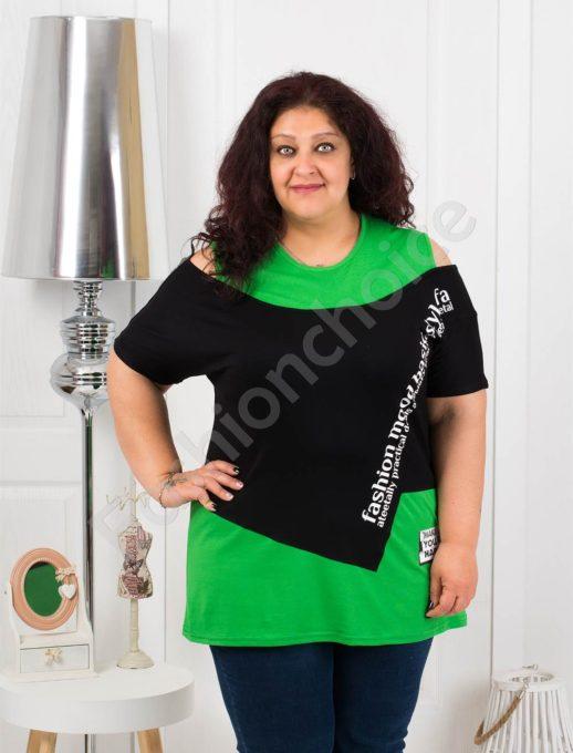Ефектна макси блузка в черно и зелено-код 1191-1
