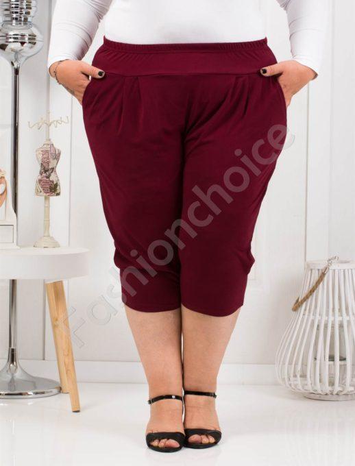 Практичен макси 7/8 панталон в бордо-код 7047-2