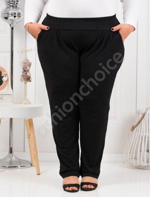 Дамски макси панталон с чудесна кройка в черно-код 7046