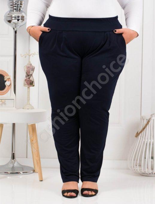 Дамски макси панталон с чудесна кройка в тъмно синьо-код 7046-1