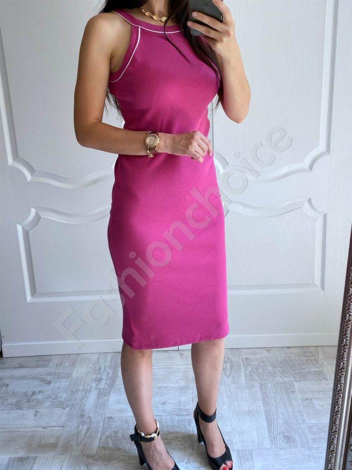 Лятна рокля от фин рипс с тънки презрамки-цвят малина