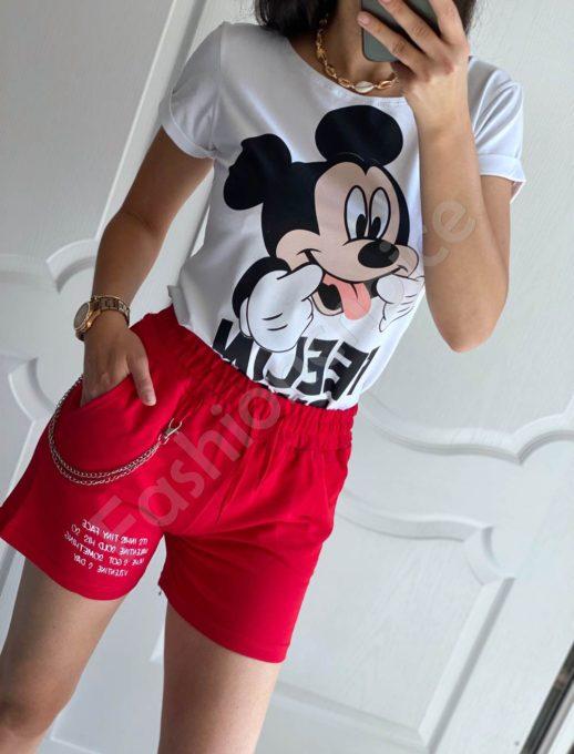 Къси памучни панталонки с аксесоар-червено-код 825