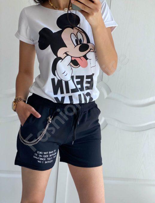 Къси памучни панталонки с аксесоар-черно-код 825-1