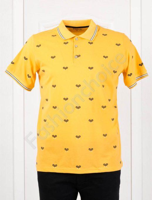 Мъжка макси блузка с якичка и спортна бродерия в жълто-код 412-1