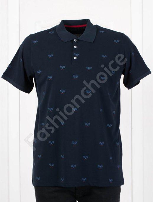 Мъжка макси блузка с якичка и спортна бродерия в тъмносиньо-код 412-3