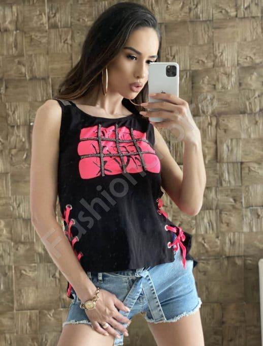 Дамски топ с камъчета и вързанки-розов неон-код 950-1