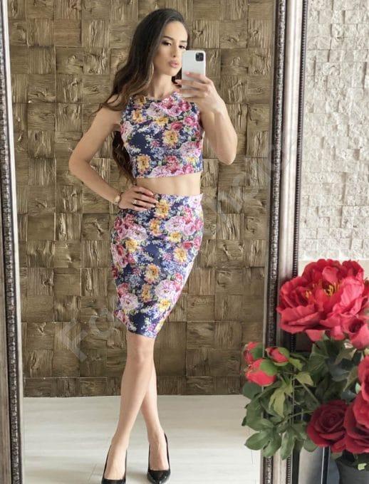 Дамски комплект от пола с висока талия и топ на цветя-код 4031