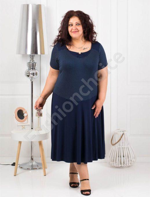 Макси рокля в тъмносиньо на нежни бели точки-код 1102