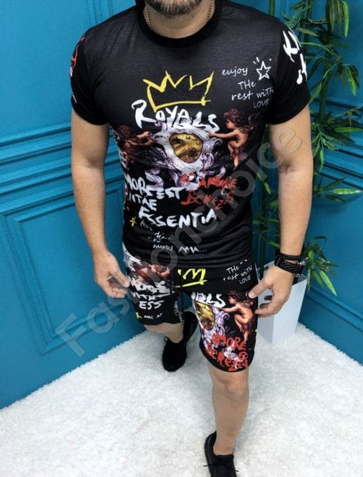 Мъжки комплект с къси панталонки в актуална щампа-код 33795