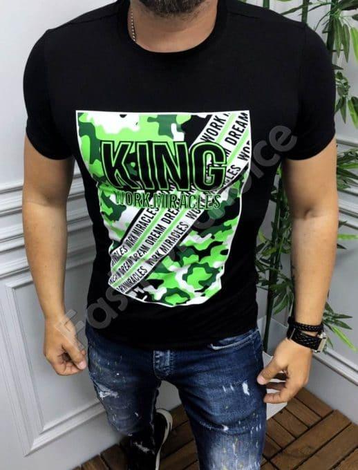 Мъжка тениска с неонова щампа и надпис KING-черно-код 19093-1