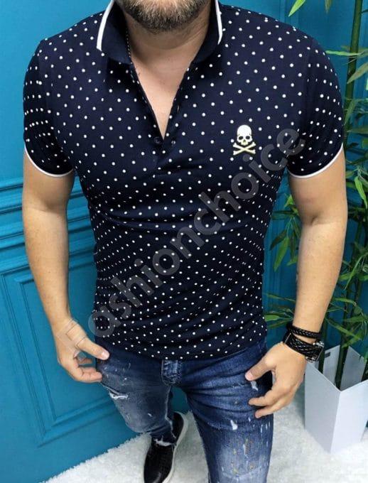 Мъжка блузка с якичка в десен на точки-тъмносиньо-код 8755-2