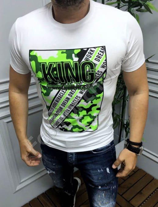 Мъжка тениска с неонова щампа и надпис KING-бяло-код 19093
