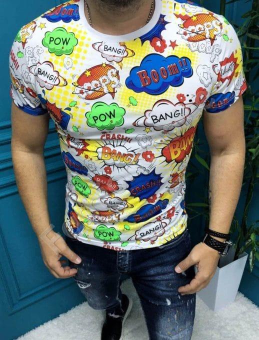 Разноцветна мъжка тениска с надписи-бяло-код 197