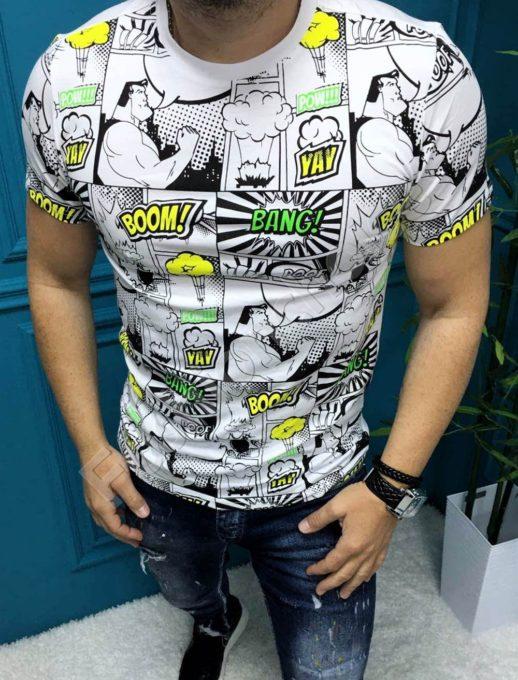 Мъжка тениска BOOM BANG в свежи цветове-бяло-код 8090