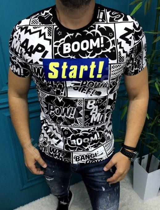 Оригинална мъжка тениска в черно-бял десен и надпис START-код 5013
