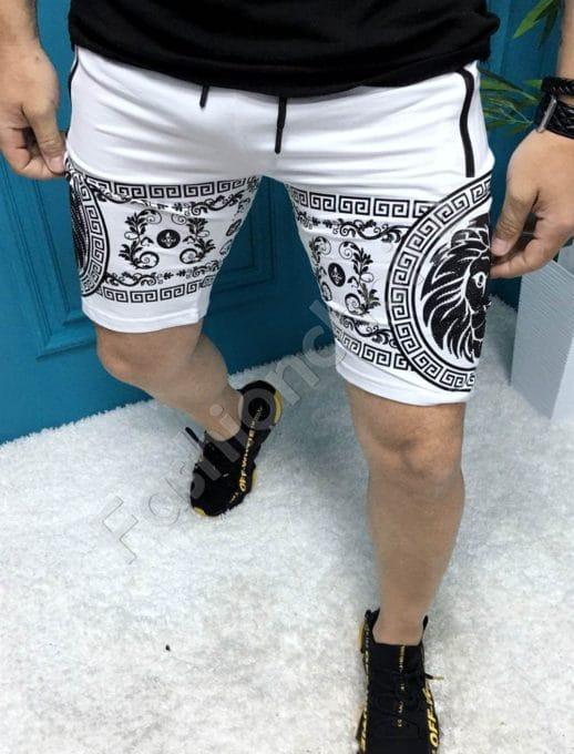Мъжки къси панталони с модна щампа в бяло-код 251-1