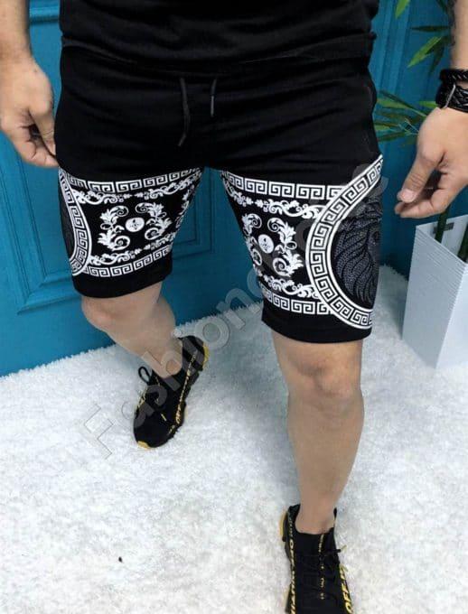 Мъжки къси панталони с модна щампа в черно-код 251