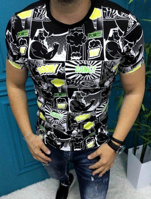 Мъжка тениска BOOM BANG в свежи летни цветове-черно-код 8090-1