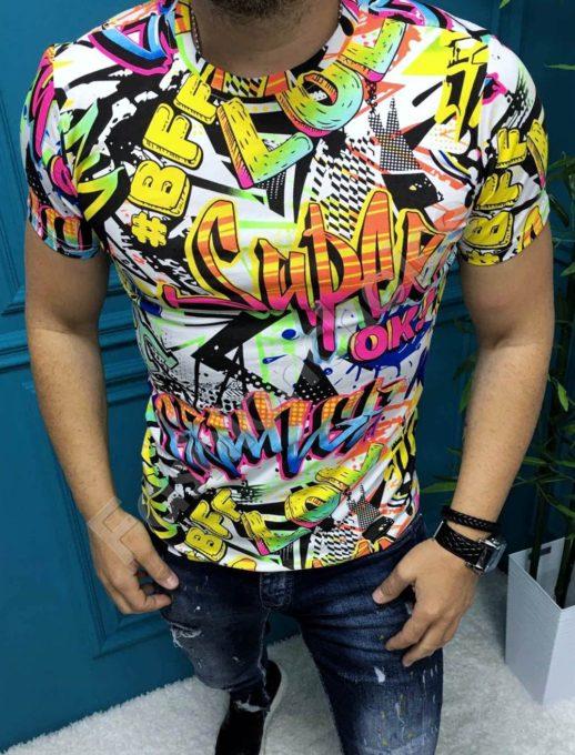 Свежа мъжка тениска с неонови надписи-код 8100