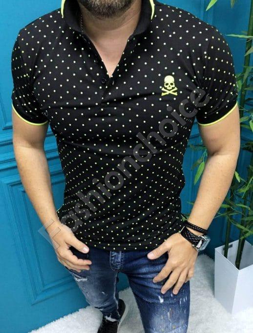 Мъжка блузка с якичка в десен на точки-черно-код 8755-1