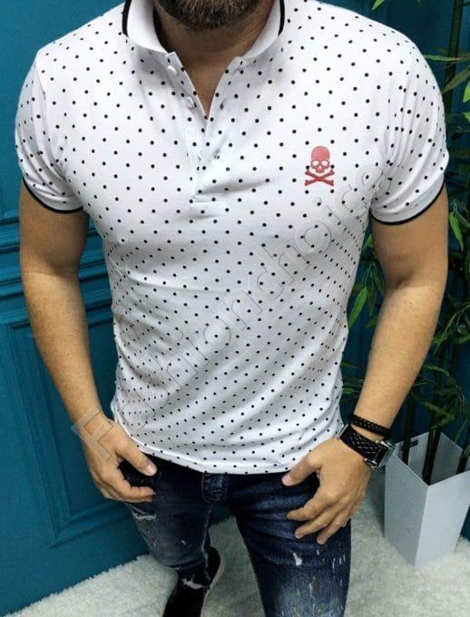 Мъжка блузка с якичка в десен на точки-бяло-код 8755