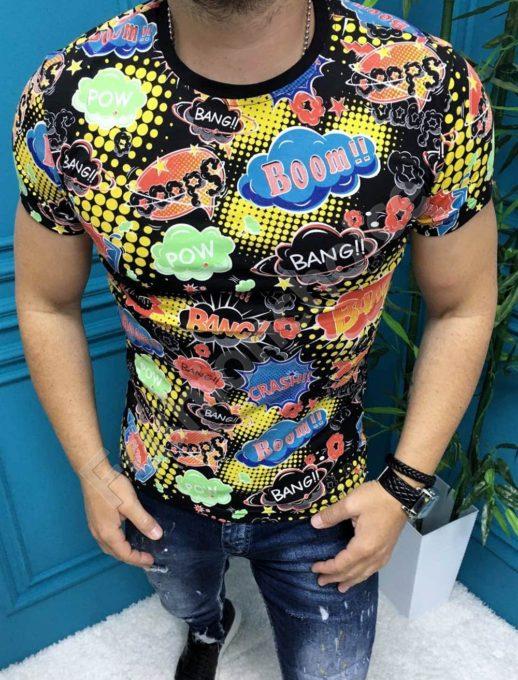Разноцветна мъжка тениска с надписи-черно-код 197-1