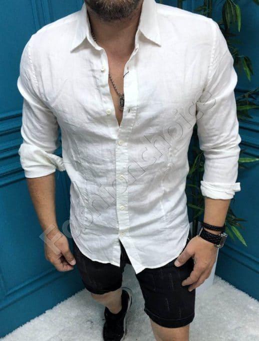 Мъжка ленена риза в бяло-код 604-1