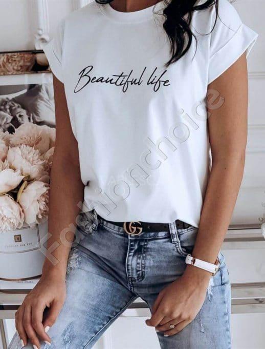 Дамска блузка с щампа Beautiful life в бяло-код 965-4